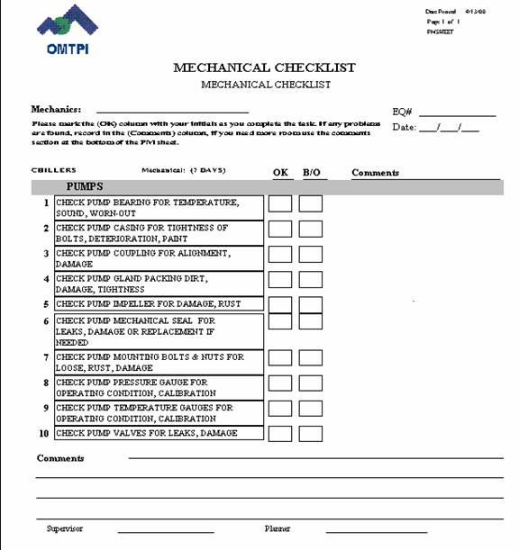 pm work sheets, rushton international